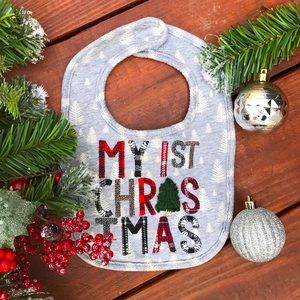 Mudpie baby first Christmas embroidered gray bib